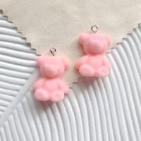 Akrilinis meškis rožinis 24x19mm, 1 vnt.