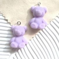 Akrilinis meškis violetinis 24x19mm, 1 vnt.
