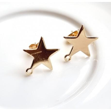 Užsegimai žvaigždutės vinukai, paauksuoti, 14x13mm, 1 pora