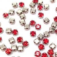 Kristalai prisiuvami, akutės, raudonos sp., 4mm, 1 vnt.