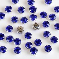 Kristalai prisiuvami, akutės, mėlynos  sp., 4mm, 1 vnt.