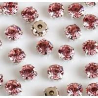Kristalai prisiuvami, akutės, rožinės sp., 4mm, 1 vnt.