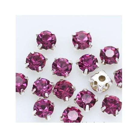 Kristalai prisiuvami, akutės, violetinės sp., 4mm, 1 vnt.