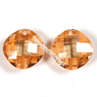 Cirkonis, oranžinės sp., apvalus 14x14x6 mm.